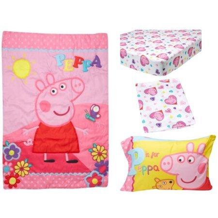 Peppa Pig 4-Piece Adorable Toddler Bedding Set, Pink Adorable Pig