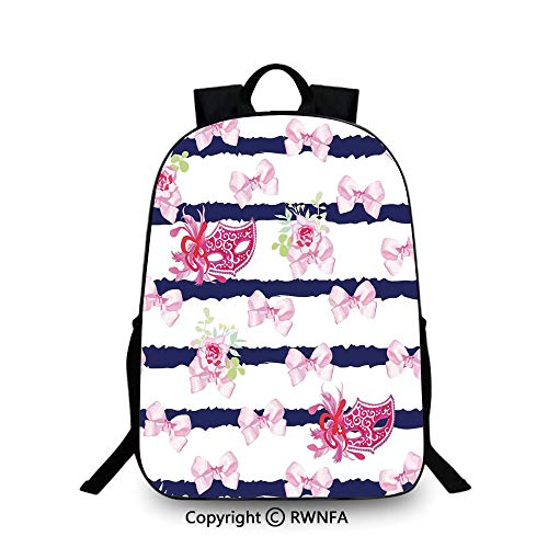 Campus Both shoulders school bag,Venetian Style Carnival Masks on Stripes with Satin Bows Roses Flowers Plain Bookbag Travel Daypack Pink White Blue