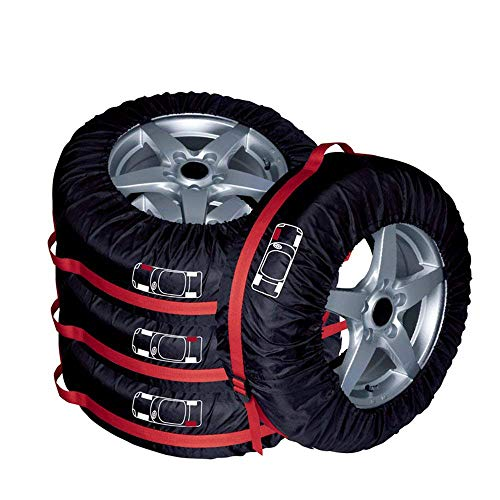 (AutoCare Tire Bags & Seasonal Storage Tote Spare Tire Covers, Waterproof & Sun Protectors - Pack of 4 Red,Fits 16
