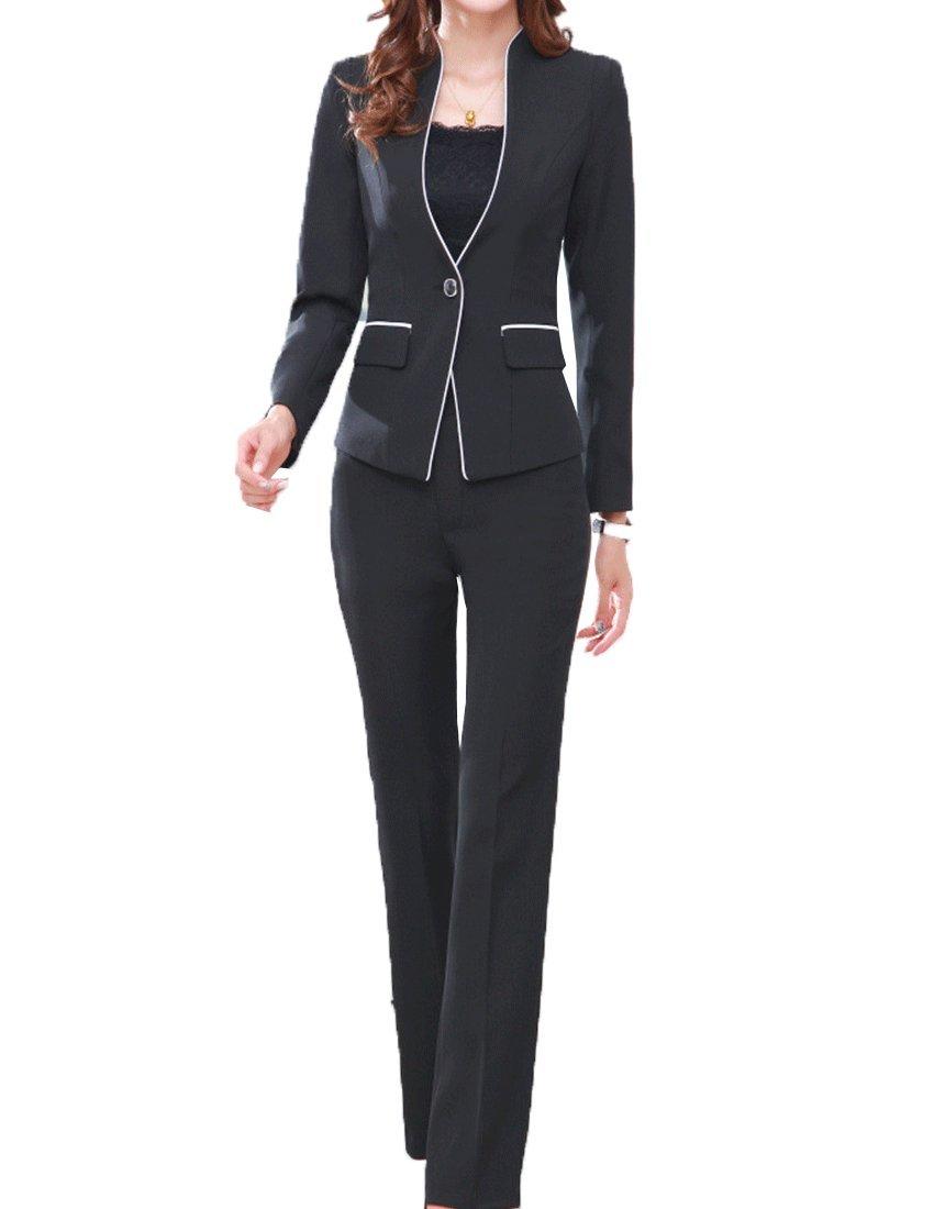 MFrannie Women's Elegant Layer Business OL Coat and Pants Slimming Suit Set Black-M