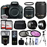 Nikon D5500 Digital SLR w/ 18-55mm VR II Kit (1546) + 55-200mm f/4-5.6G VR Lens + 96GB Memory + Padded Carrying Case + 2.2x Telephoto + 0.43x Wide Angle Lens + i-TTL Flash + 3 Filters + Tripod