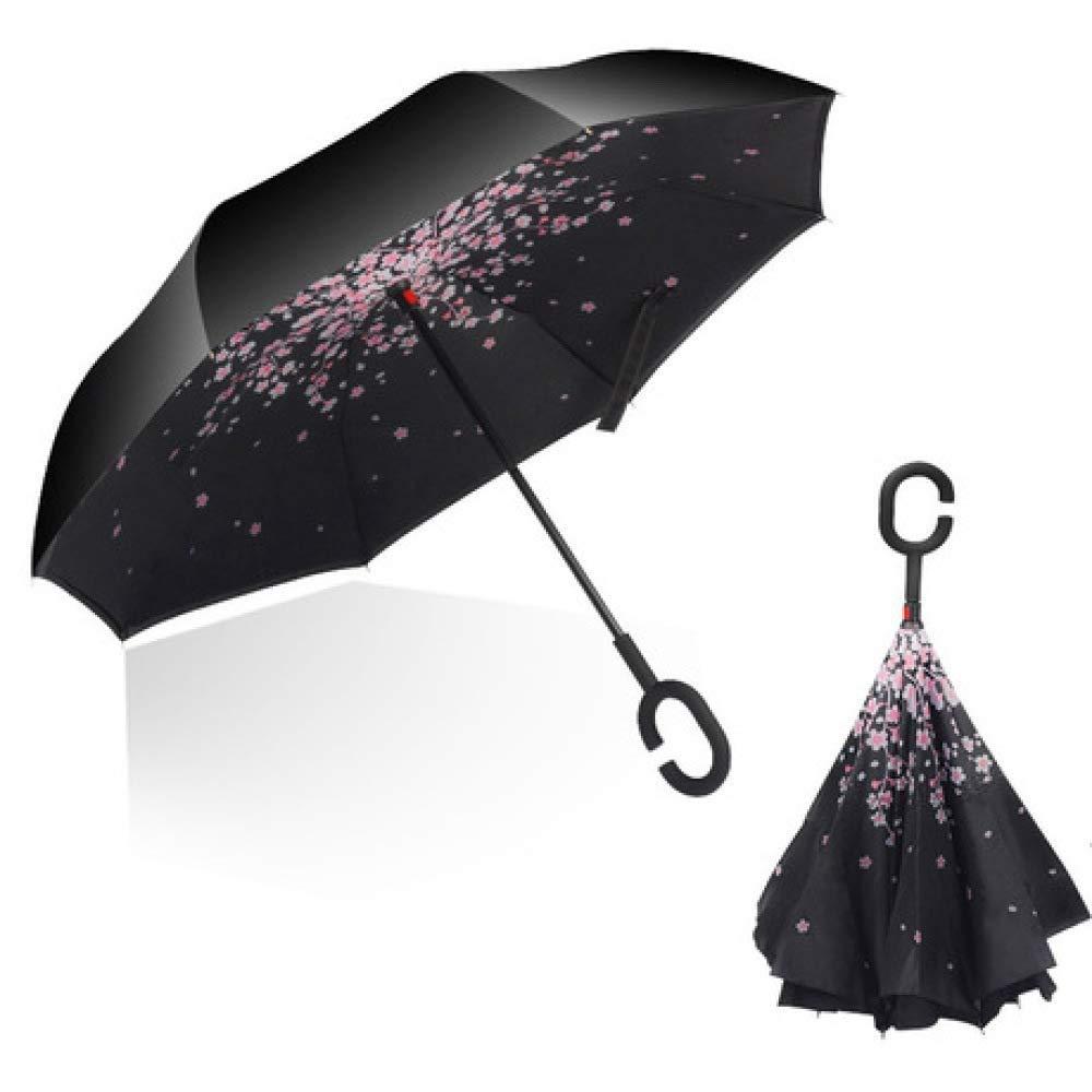 YSLJH Double Layer Reverse Folding Umbrella Parasol C-Type Handle Umbrella Windproof UV Rain Gear Outdoor Car Handle Umbrella Multi-Design Optional Color : F