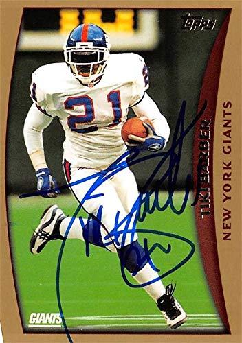 Tiki Barber autographed football card (New York Giants) 1998 Topps #231 - NFL Autographed Football Cards Barber Autographed Nfl Football