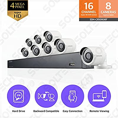 Samsung Wisenet SDH-C85080BF 16 Channel 4 MP Super HD NVR Video Security System 8 Bullet Camera (SDC-89440BC) with 2TB Hard Drive from Hanwha Techwin America