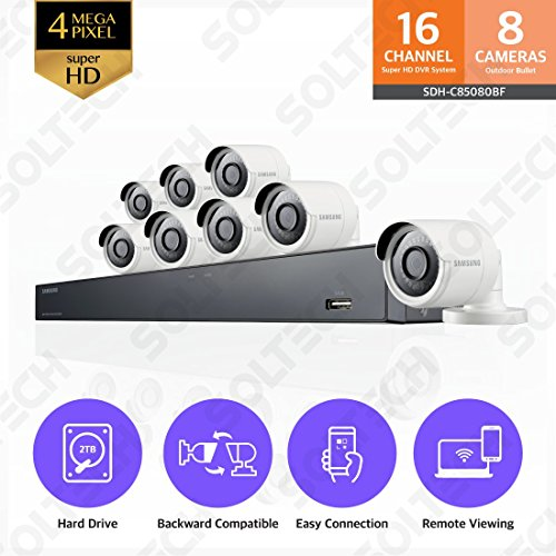 Samsung Wisenet SDH-C85080BF 16 Channel 4 MP Super HD DVR Video Security System 8 Bullet Camera (SDC-89440BC) with 2TB Hard Drive