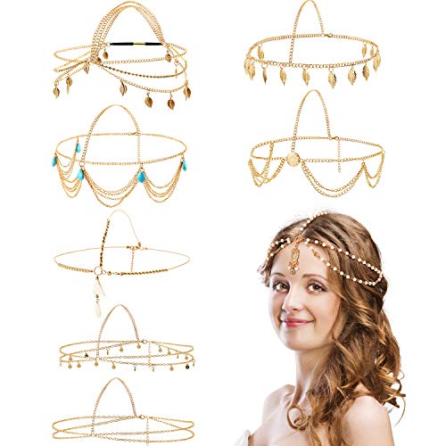 8 Pieces Gold Head Chain Jewelry Boho Headband Head Chain Coins Pearl Tassel Chain Hair Band Festival Prom Wedding Headpiece for Women and Girls (Indian Gold Coin)