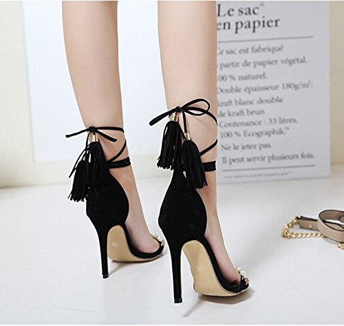 Sheepskin Beaded Summer Is Black Sandals Sandals Tassel With Bag 8 A Fine KHSKX Toe Frosted Thirty Straps 5Cm Shoes Leather With six n0ganqPw7