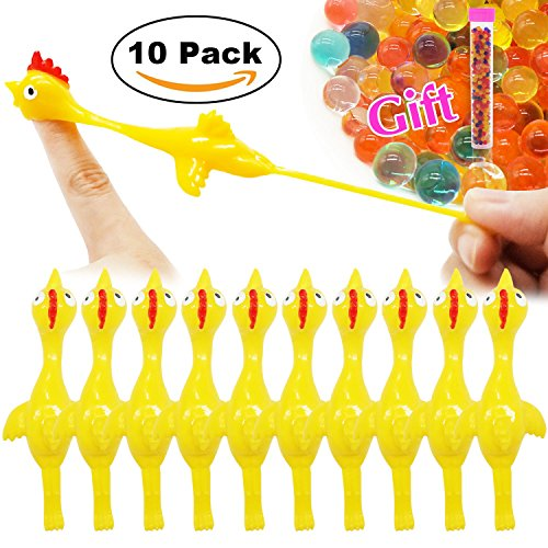 Slingshot Chicken Flick Chicken Fingers Stretchy Flying Chicken (10 PCS)Tricky Game Player's Favorite Scented Stress Relief Toy with A Tube of Water Beads (Fling Toy)
