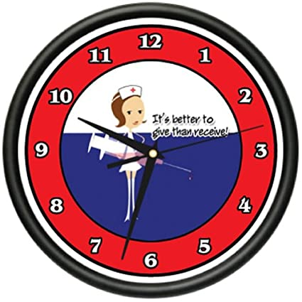 NURSE 1 Wall Clock hospital medicine nurse scrubs sick patient care gag gift