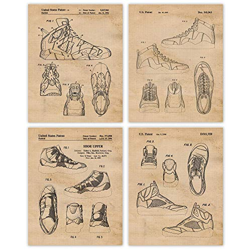 Vintage Nike Air Jordan Shoes Patent Poster Prints, Set of 4 (8x10) Unframed Photos, Wall Art Decor Gifts Under 20 for Home, Office, Studio, Man Cave, ...