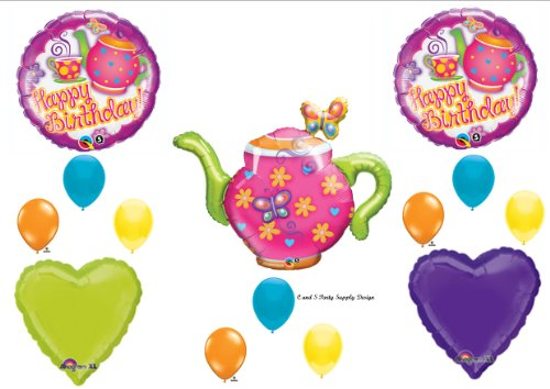 Teapot Tea Garden party Happy Birthday Party Balloons Decorations Supplies