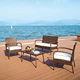 Pamapic 4 Piece Patio Furniture, All Weather Mix Brown PE Rattan Wicker Chair Sets with Washable Seat Cushions & Coffee Imitation Wood Table Top, Indoor/Outdoor, PS