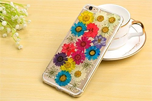 PowerQ Bunte Echt Blumen Probe Exemplar Serie Tasche TPU Hülle Etui Fall Case Cover < Colorful sunflower | für IPhone6SPlus IPhone 6SPlus 6Plus IPhone6Plus >          Colorful Real Flower Specimen mit Staubste