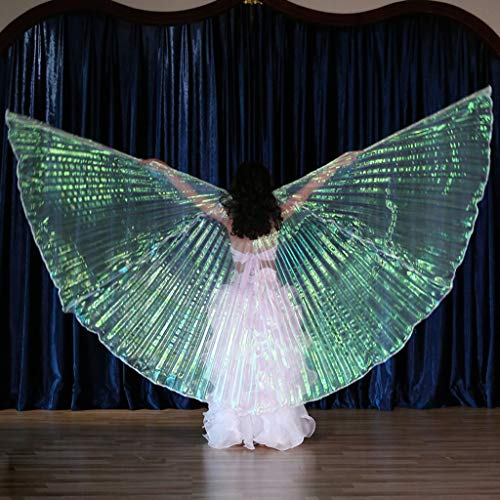CapsA Belly Dance 360 Degree Wings with Portable Flexible Sticks for Children Belly Dance Costume Angel Wings Carnival, Stage, Halloween Christmas Party (White) -
