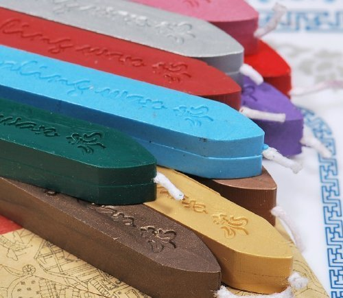 DH LLC 10pcs (10color) Stamp Seal Sealing Wax Stick with Wick