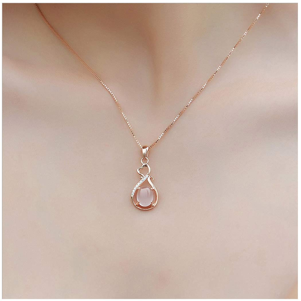 Cute Star Sun Necklace Pendant Rose Quart Crystal Water Drop Y Shape Necklace Chain Jewelry for Women and Girls