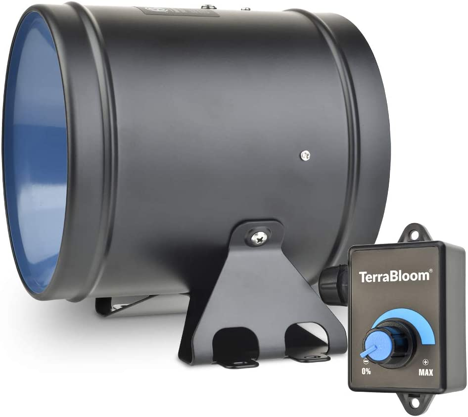 TerraBloom ECMF-150 Quiet 6 Inline Duct Fan with 0-100/% Variable Speed Controller Cooling Booster and Exhaust Blower for Grow Tents Energy Efficient EC Motor Air Tight Metal Casing Heating