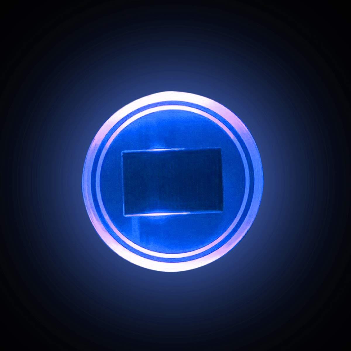 2pc Green LED Light Trim Solar Cup Holder Bottom Pad Mat  For All Car All models