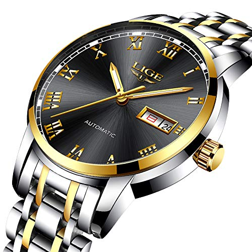 - LIGE Watches Men Waterproof Stainless Steel Analogue Quartz Wrist Watch for Man Business Dress Date Simple Watch Black Gold Clock