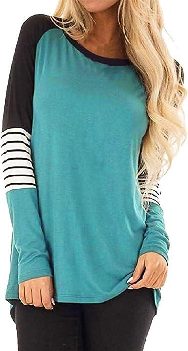Luckycat Camisa de Rayas, Camisas Mujer Manga Larga Bloque de Color Casual Blusas Tops del Camisetas: Amazon.es: Ropa y accesorios