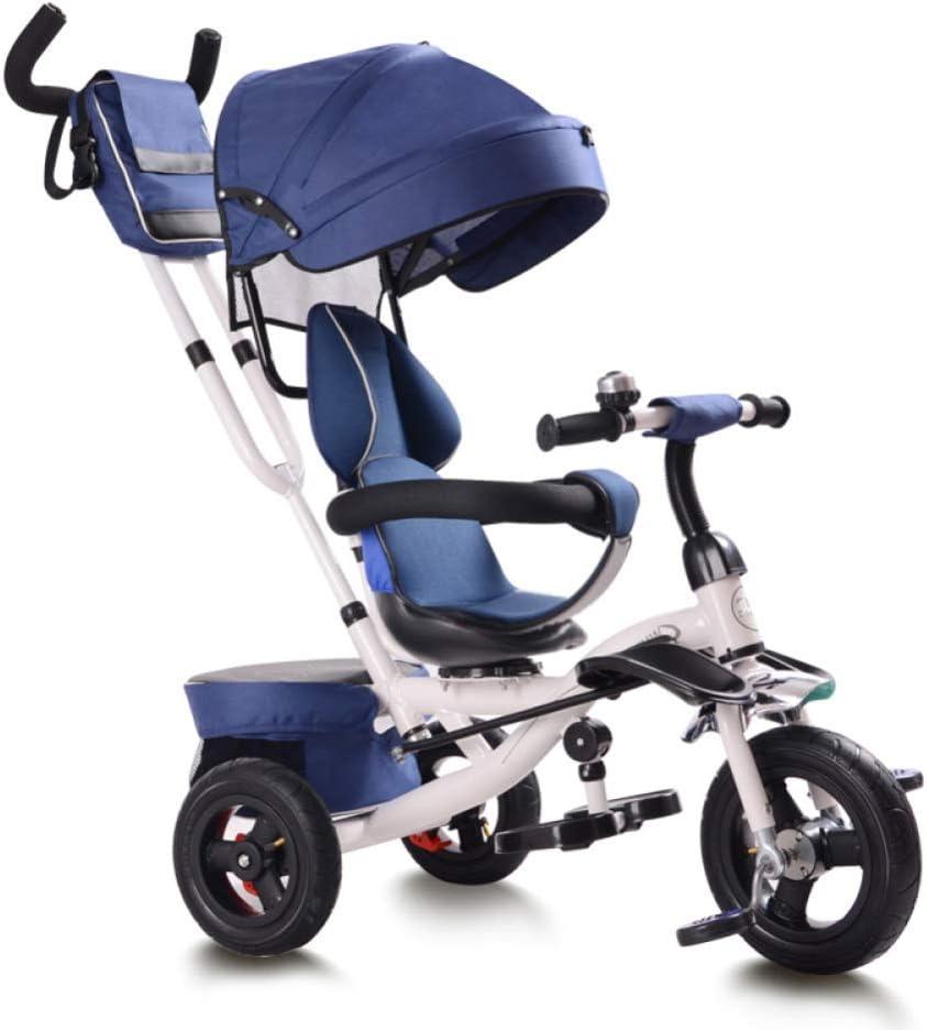 HBSC 3 en 1 triciclos de niños Rotación de 360 ° del Asiento, reposapiés Delantero y Cesta de Almacenamiento Grande, Adecuado para Compras y Viajes, 1-6 años 1bicycle Regalo Blue