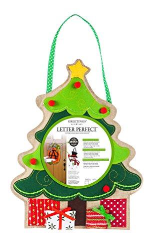 Evergreen Christmas Tree Monogram Letter Perfect Outdoor Safe Burlap Door Decor (Outdoor Christmas Decor Ideas)
