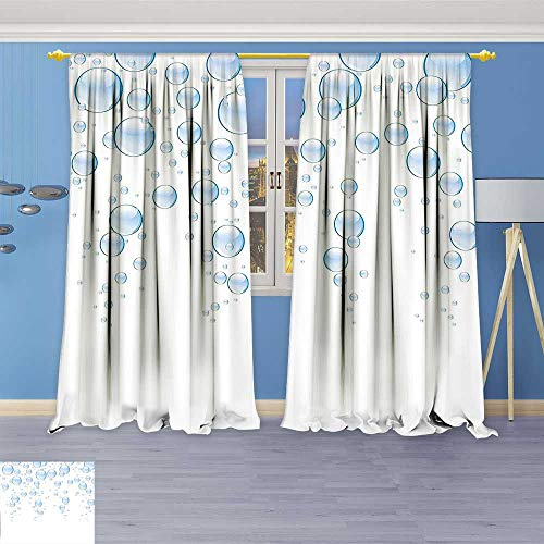Astoria Clear Crystal (Philiphome Blackout Curtains Thickening Polyester,Water Drops Bubbles Liquid Purity Symbol Crystal Circles Artful Picture Light Blue White Thermal Insulated Grommet for Living Room)