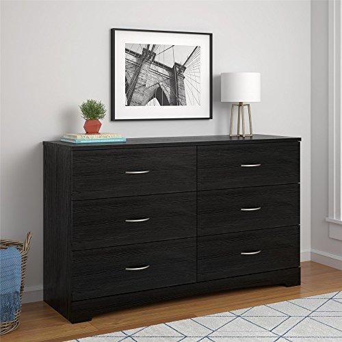 Ameriwood Home Crescent Point 6 Drawer Dresser, Black (Chest Black Drawer 6)