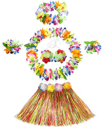 30cm Hawaiian multicolor grass skirt performance costume set for girls ()