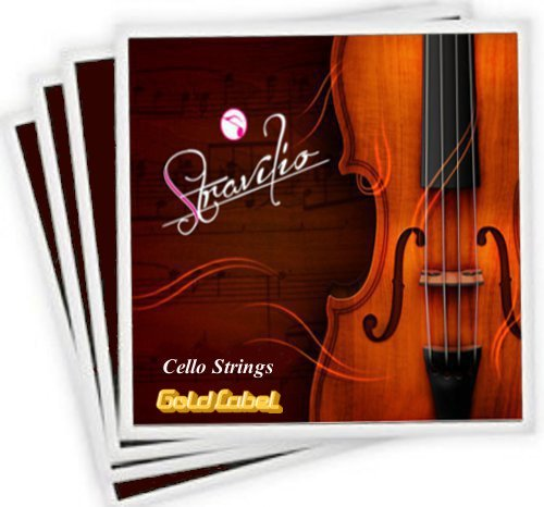 Set of Cello Strings Size 4/4 & 3/4 - A D G & C (Gold) Stravilio STcello