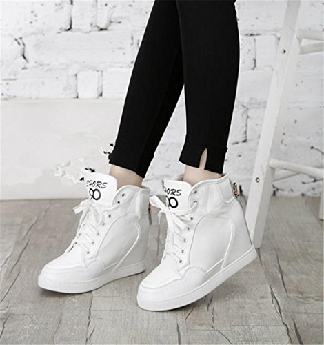 Sport Casual Women Girl Leather Lace up Fashion High Heel Shoes Boots Booties White EJC5q0e