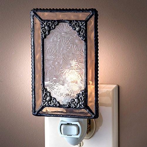 J Devlin NTL 169 Peach Stained Glass Decorative Night Light Vintage Style Night (Metal Sparkling Night Light)