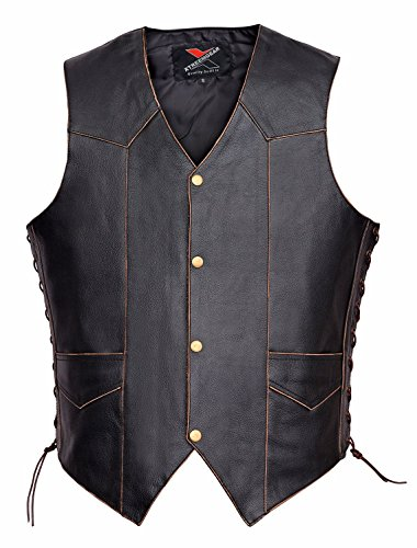 (Men Motorcycle Leather Vest Vintage Classic Distressed American Eagle V119 (XL))