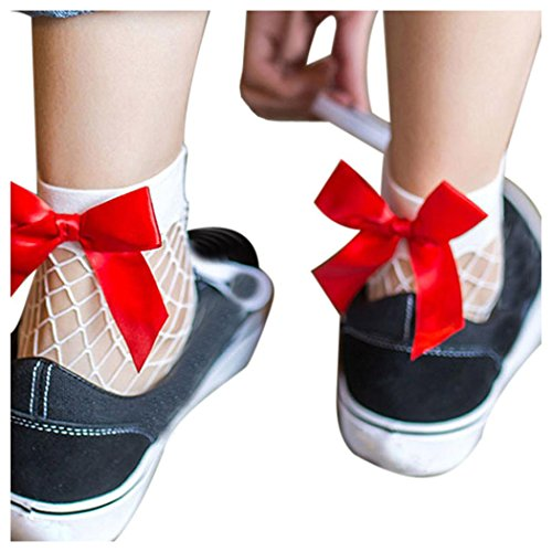 Amazon.com | Inkach Women Fishnet Socks, Stylish Gils Summer Soft Fishnet Mesh Ankle Short Socks Stockings Net with Bow (A) | Sport Sandals & Slides