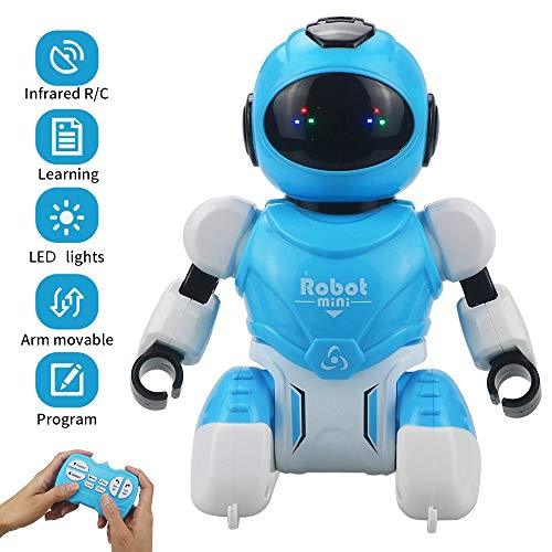 Sikaye Remote Control Robot, Mini Programmable RC Robot with Infrared Controller Toys, Singing, Rotating, Maths and Tongue Twister, Smart Robot Toys for Children Learning and Entertainment (Blue)