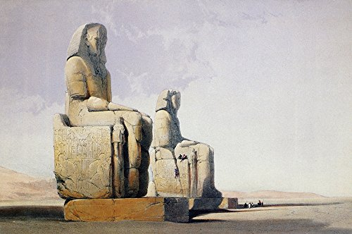 Thebes Amenophis Iii Nthe Colossal Statues Of Amenophis Iii At His Mortuary Temple In Thebes Color Lithograph By David Roberts 1838 Poster Print by (24 x 36)