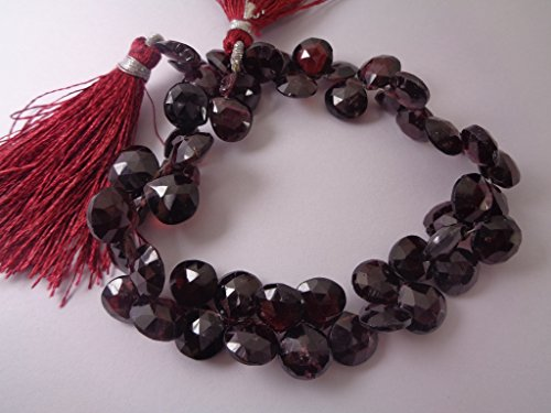 9mm Heart Natural Mozambique Garnet Briolette Strand, 8 Inches Long Strand, January Briolette Beads Supplies (Garnet Briolette)