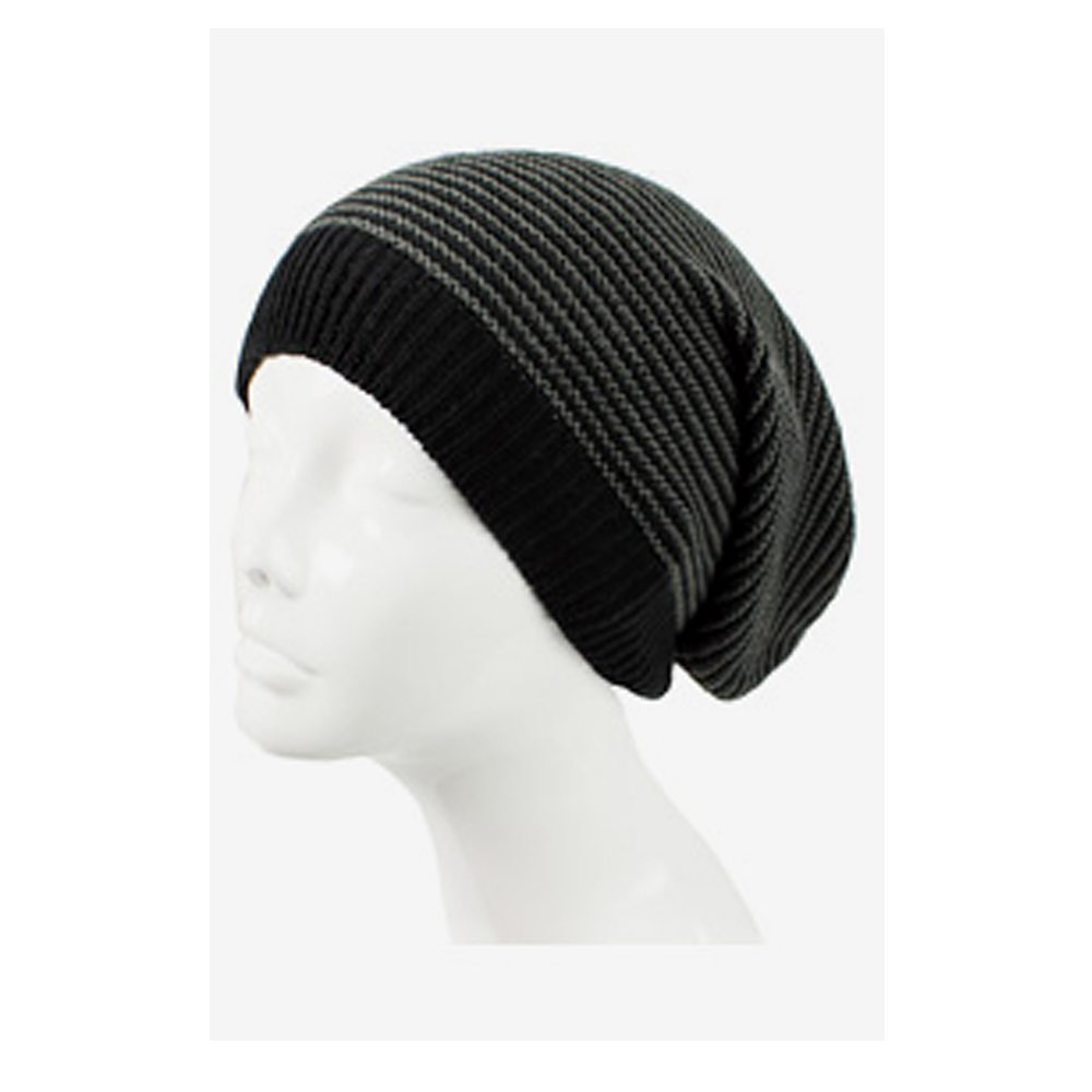 8b9e412fc48 AN Knit Hat Slouch Beanie Cap Black   Charcoal Striped Lightweight All Day  Wear at Amazon Women s Clothing store