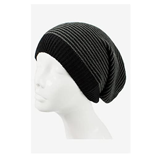 f917a3b9b5811 AN Knit Hat Slouch Beanie Cap Black   Charcoal Striped Lightweight All Day  Wear at Amazon Women s Clothing store
