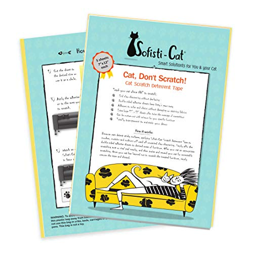 Cat Scratching Deterrent Tape, Scratch Control Aid | Double Sided Cat Training Sticky Tape | Biggest on The Market, 5 XL Sheets 12
