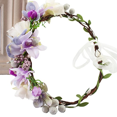 Vivivalue Floral Crown Headband Flower Headpiece Hair Wreath Floral Halo Boho with Ribbon Wedding Party Photos Prom Festival Purple