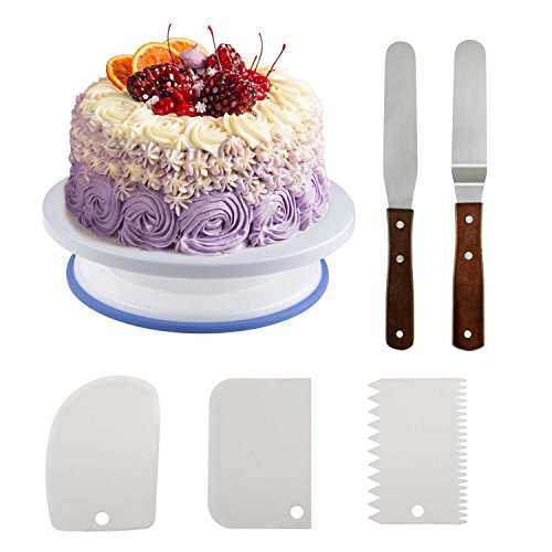 Cake Decorating Turntable, Homga 10.7 Rotating Cake Turntable Stand Decorating Supplies with Two10.7 Icing Spatula Sided & Angled and 3 Icing Smoother