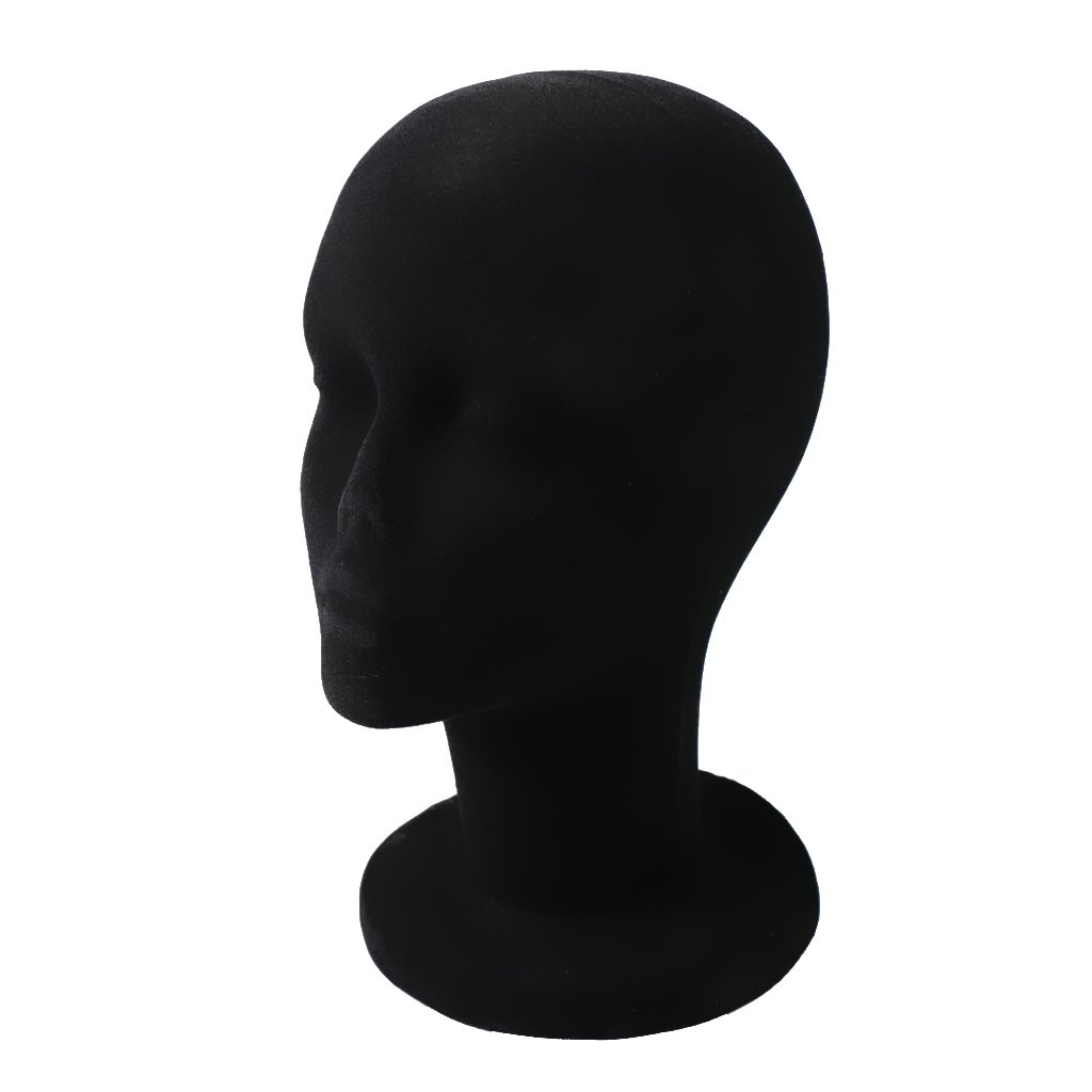 MagiDeal Testa Modello Polistirolo Supporto Maschio Schiuma Parrucche Cappelli Occhiali - Nero