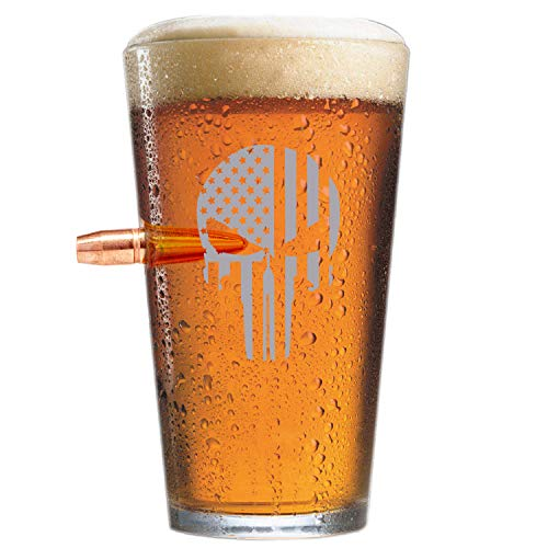 (.50 Caliber Real Solid Copper Projectile Hand Blown Pint Glass - The Punisher Flag)