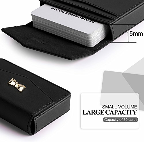 Business card holder, FYY 100% Handmade Premium Leather Business Name Card Case Universal Card Holder with Magnetic Closure (Hold 30 pics of cards) Black Photo #4