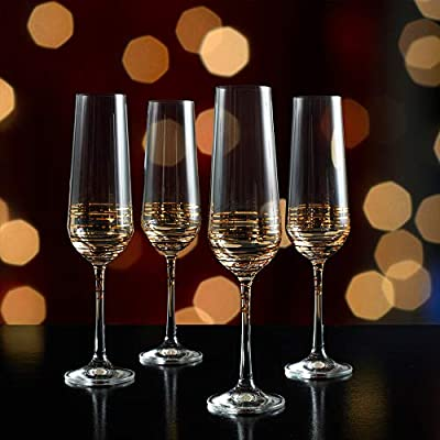 Mikasa Electric Boulevard Gold Champagne Flute Set of 4 8-Ounce