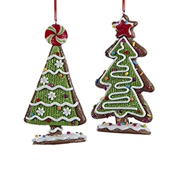 kurt adler assorted gingerbread candy christmas tree ornaments set of 2 - Candy Christmas Ornaments