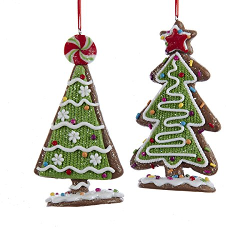 kurt adler assorted gingerbread candy christmas tree ornaments set of 2