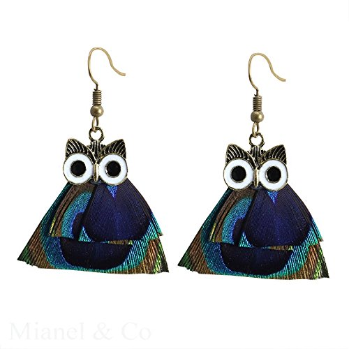 AUCH Vintage Peacock Feather Pendant with Cute Owl Dangle Hook Earrings, Blue - Antiqued Rose Ring