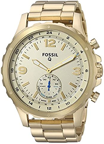 Fossil Q Nate Gen 2 Men's Gold-Tone Stainless Steel Hybrid Smartwatch FTW1142 (Fossil Watchs Nate)
